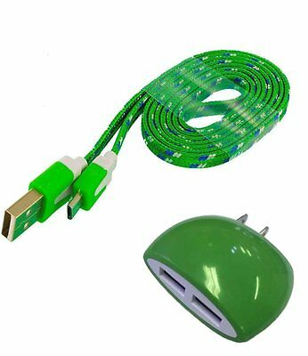 T-Mobile REVVL Green Wall Home Charger w/ 3 FT Braided Cable & Dual Outlet