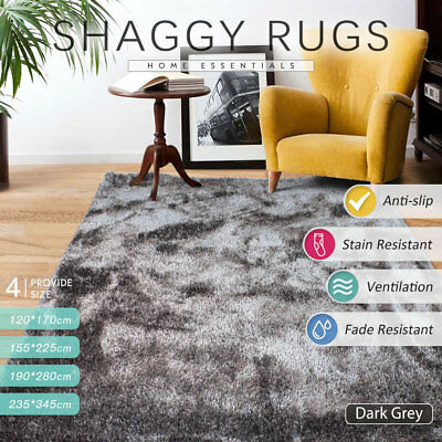235x345cm Large Dark Grey Super Soft Thick Shaggy Shag Rugs NON SHED Guarantee