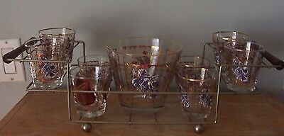 8 Vintage Cocktail Glasses With Glass Gold Rimmed Ice Bucket & Wire Caddy