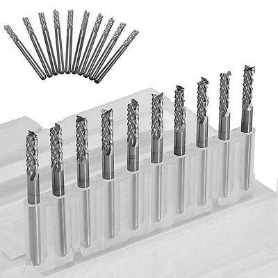 """10x 38mm /1.5"""" Carbide End Mill 1/8"""" Shank CNC PCB Engraving Bit For Mould wood"""