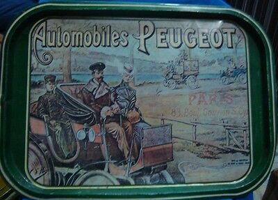 Old vintage Tin Tray with Automobiles PEUGEOT Car lithos from France 1950