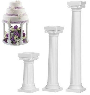 "Wilton 3"" 4"" 7"" Grecian Pillars - Pack of 4, Wedding Cake Decoration Support"
