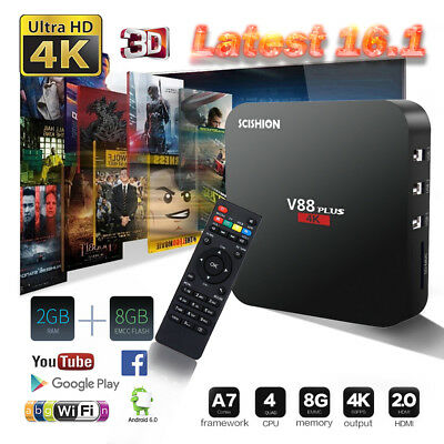V88 Plus 4K pro Smart Android TV Box Quad Core 2/8GB UHD WIFI Media Player FILM