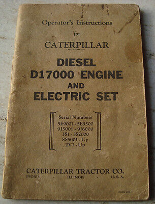 Old Vintage Operators Instruction Book from Caterpillar from U.S.A. 1949