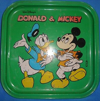 Old vintage  Mickey mouse & Donald Duck Tin Tray from India 1960