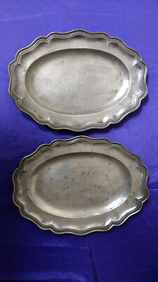 Pair of Antique Wavy Edge Pewter Serving Dishes