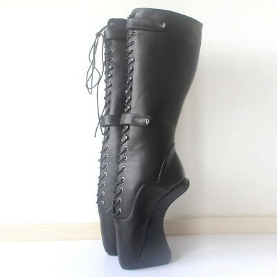BLACK LEATHER KNEE High LOCKING PONY Ballet Boots, high heals, sexy boot 18 CMS
