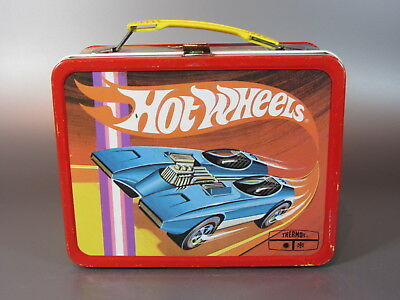 Vintage LUNCH BOX Hot Wheels Redlines Mattel Metal LUNCHBOX 1969 Thermos