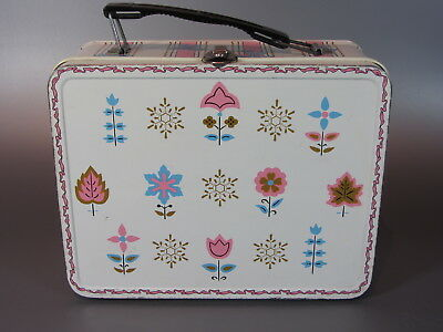 Vintage LUNCH BOX Flower Bow Pink Girl Metal LUNCHBOX 1960's OHIO ART
