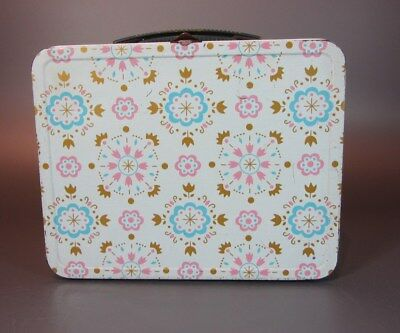 Vintage LUNCH BOX Pastel Flower rare Pink Girl Metal LUNCHBOX 1960's OHIO ART