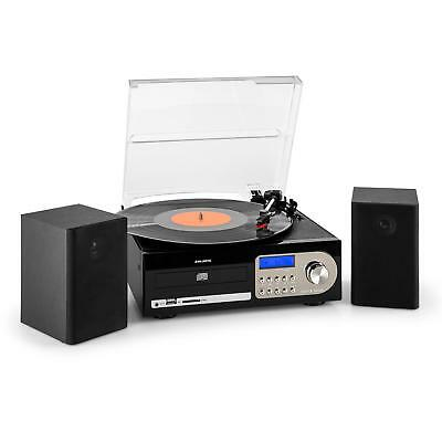 Hifi Stereo System Cd Player Vinyl Turntable Cassette Tape Fm Usb Mp3 Speaker
