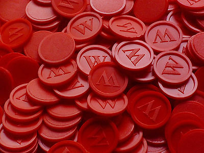 Tokens, Deposit Coins, Beverage w- Quantities Selectable Color:Red