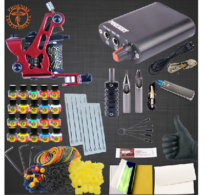 Complete Tattoo Machine Kit Set 10/20 Colours Pigment ink Sets Power tattoo set.