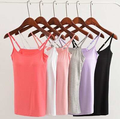 Women Cami Camisole Tank Top Built in Bra Adjustable Spaghetti Strap Tops Plus