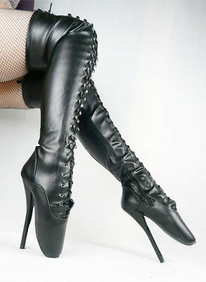 BLACK LEATHER THIGH High Ballet Boots, high heals, sexy boot 18CMS 7""