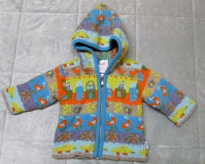 OILILY Hooded Zip Wool Blend Sweater 62 6 Months Infant Boy Girl Italy