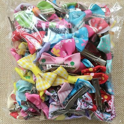 100PCS/lot Wholesale mix bow Dog Puppy Hairpin Hair Clips Pet cat  Accessories
