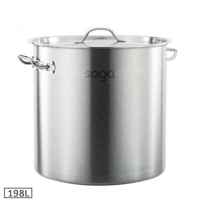 SOGA Stainless Steel Stockpot 198L Kitchen Cookware Stock Pot 12 Month Warranty