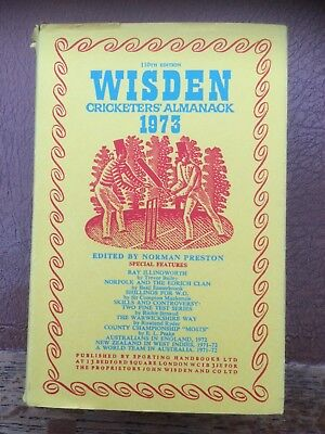 WISDEN CRICKETERS' ALMANACK 1973 hardback in dustwrapper