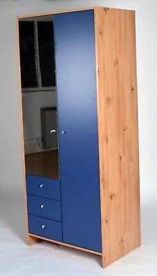 Madison 3 Drawer 2 Door Mirror Wardrobe in Pine & Blue Effect