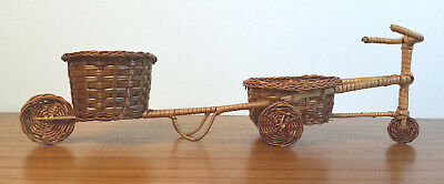 Tricycle and Carriage Thai Handmade Bamboo Miniature Display Arts Bicycle Rare