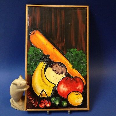 Bright  Retro Vintage - Original Intaglio Textured Wall Hanging - Fruit & Veg