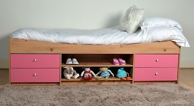 Madison Cabin Bed in Pine & Pink Effect