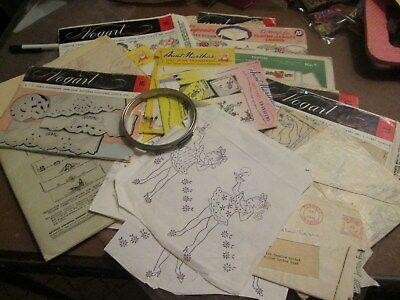 Mixed Lot Of Vintage Transfer Stamps Vogart Aunt Marthas Metal Embroidery Hook