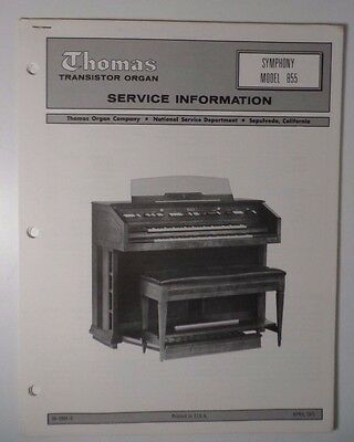 Original Thomas Organ Service Information Symphony Model 855