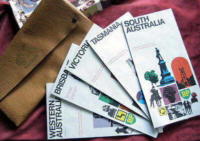 Vintage Australia Road Maps Directory for SA TAS VIC BRISBANE and WA in Leather