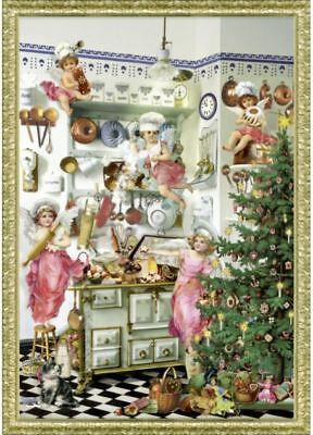 Victoriana CHRISTMAS TREE & CHERUBS ADVENT CALENDAR CARD by Coppenrath Germany