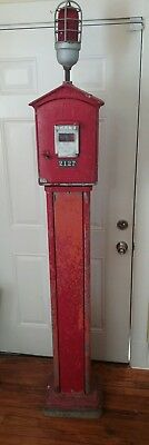 Antique Gamewell Fire Alarm Pull Box on Pedestal - Parts - For Parts Or Repair