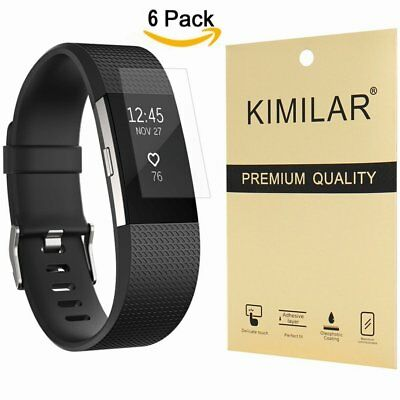6 HD Clear Anti Bubble Glass Full Coverage Screen Protectors For Fitbit Charge 2