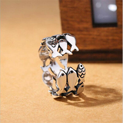 Gift Jewelry Birthday Gift Opening Ring Rings Fish Silver Plated Adjustable