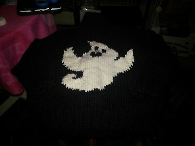 handmade halloween black sweater with ghost at front for toddler size 2t