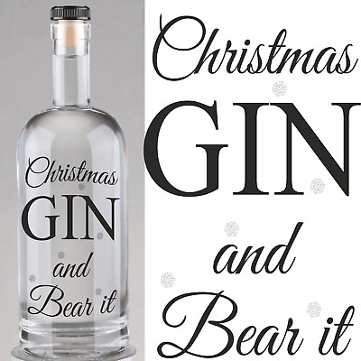 Christmas Gin and Bear it  Bottle Labels  Beer Bottle Labels Home Brew Gin Time