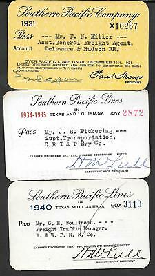 Lot of 3 Southern Pacific RR Passes great BEAUTY
