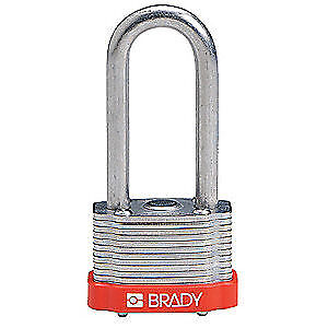 "BRADY Keyed Padlock,Alike,1-5/16""W,PK6, 118978, Red"