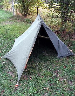 1 USED ARMY CANVAS SNAP PUP TENT COMPLETE w/POLES, STAKES, ROPES **MAKE OFFER**