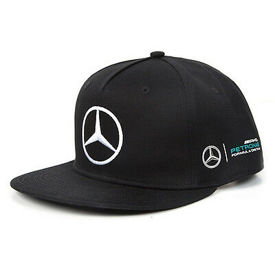 2017 OFFICIAL F1 Mercedes AMG Lewis Hamilton MENS Flat Brim Peak Cap BLACK – NEW