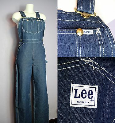 SALE NWT Vtg Auth 70's LEE Made In USA Dungarees Overalls Indigo Blue W 28 L 36