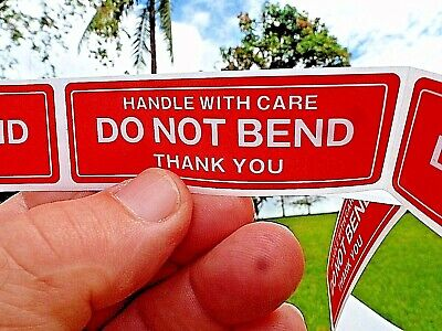 "DO NOT BEND HANDLE WITH CARE Stickers 1"" x 3""  Pack of 50 Not On Roll Fast Ship"