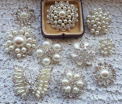 Large silver diamante pearl brooch wedding vintage bouquet cake shoe brooches