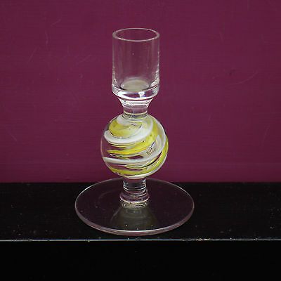 Langham Glass 12 cm tall Balmoral Candlestick in Yellow/White