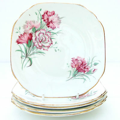 Vintage Duchess Bone China Set 5 Tea Plates Floral Pink