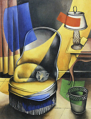Armchair with Cat  by Georges Baquier   Giclee Canvas Print Repro