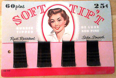 Vintage 1950's Soft Tip Bobby Pins Rubber Tipped COMPLETE SET OF 60 on Cardboard