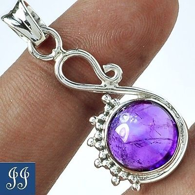 Beautiful Queen Amethyst Gemstone 925 Sterling Silver Pendant & Chain 1&3/8""