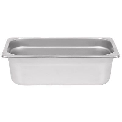 "Stainless Steel Steam Pan 4"" Deep 1/3 Size: 12 3/4"" x 7"""