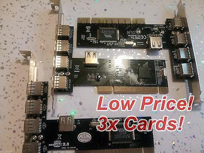 3x 5-Port USB Host Controller PCI Card VIA VT6212L  NEC 0720101F1 Chipset